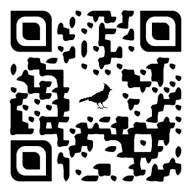 One of the QR codes found at bird observation sites around campus. Yes, that is a female northern cardinal silhouette embedded in its QR code. Scan it and see more!